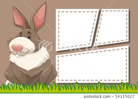 Rabbit on note template 54115027