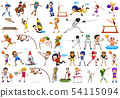 Set of sport athletes character 54115094