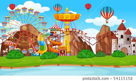 Large amusement park scene 54115158