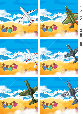 Set of plane flying above the beach 54115171