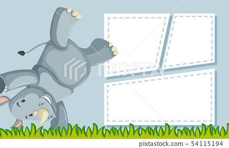 A rhinoceros on note template 54115194