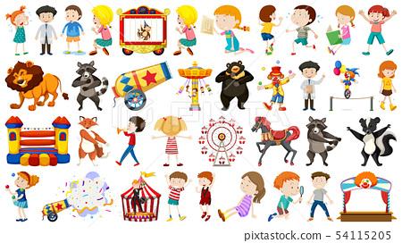 Set of children and circus 54115205