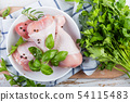 Raw chicken legs for bbc with herbs and spices 54115483