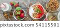 Breakfast - yogurt with granola and straberries 54115501