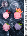Selection of colorful berry ice cream on marble background 54117229