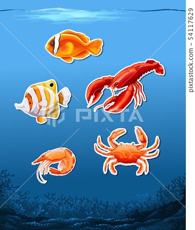 Animals in underwater scene 54117629