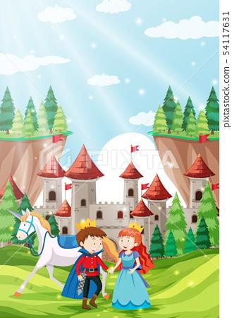 Prince and princess in castle scene 54117631