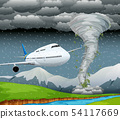 Airplane in storm scene 54117669