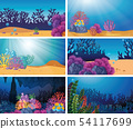 Set of underwater scene 54117699