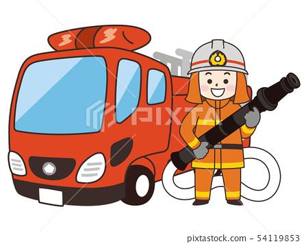 消防隊員人和梯子消防車 54119853