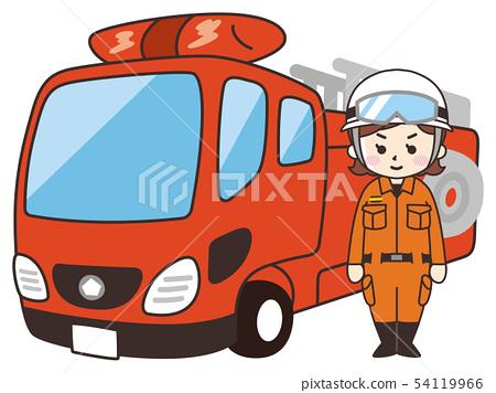 消防隊員婦女和梯子消防車 54119966