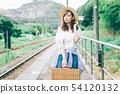 ผู้หญิงกำลังรอรถไฟอยู่ที่สถานีภูมิภาค 54120132
