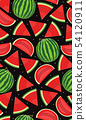 Seamless pattern with watermelons, slice of 54120911