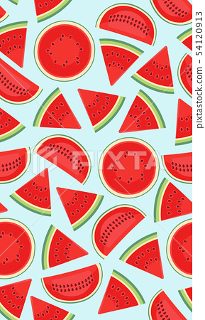 Seamless pattern with watermelons, slice of 54120913