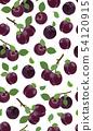 Fresh purple plum seamless pattern, Vector 54120915