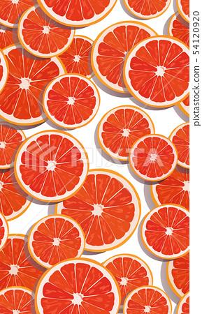 Seamless pattern slice orange fruits overlapping 54120920
