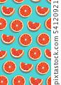 Seamless pattern slice orange fruits on green blue 54120921