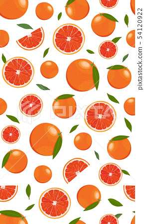 Seamless pattern orange fruits and slice with 54120922