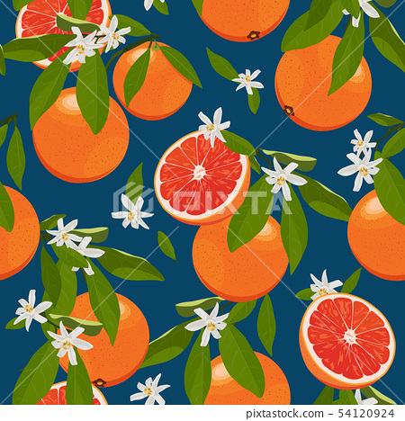 Seamless pattern orange fruits with flowers and 54120924