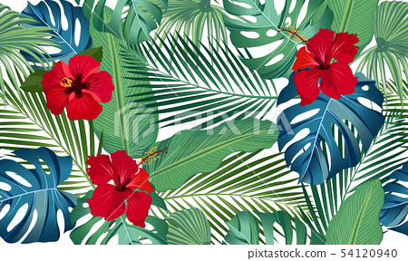 Seamless vector pattern tropical leaves with red 54120940
