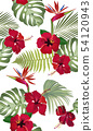 Seamless pattern tropical leaves with red hibiscus 54120943