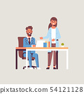 businesspeople couple brainstorming businessman with female assistant using laptop discussing new 54121128