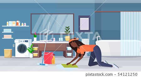 housewife washing floor on knees african american woman cleaner using cloth and bucket girl doing 54121250