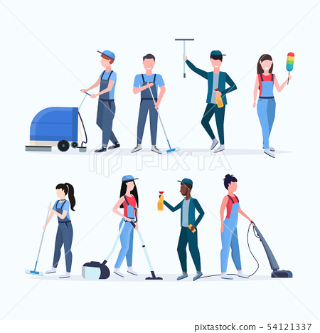 set janitors team cleaning service concept men women mix race cleaners in uniform working together 54121337