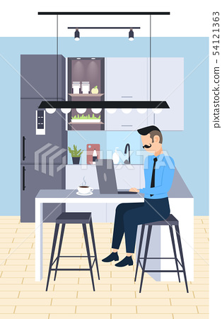 businessman sitting at workplace desk business man freelancer using laptop working process concept 54121363