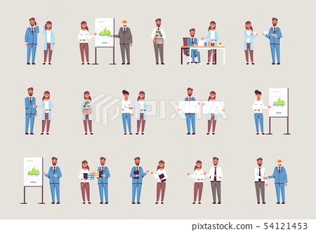 set businesspeople in different working situations business people working process successful 54121453