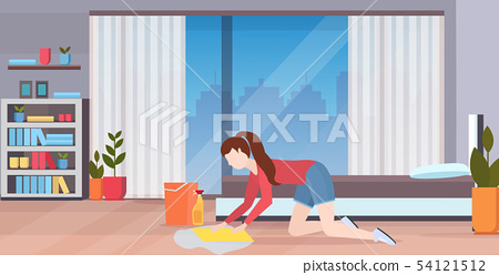 housewife washing floor on knees woman cleaner using cloth and bucket girl doing housework cleaning 54121512