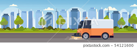 street sweeper truck machine cleaning process industrial vehicle urban road service concept modern 54121600