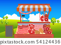 outdoor meat market on the meadow 54124436