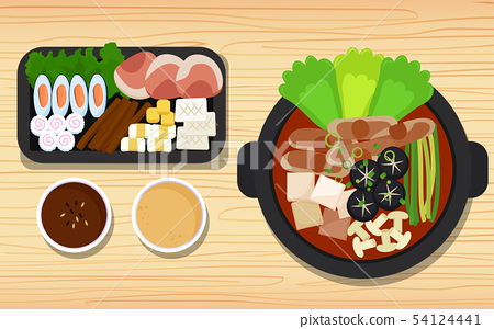 Hotpot and ingredients on the wooden table 54124441