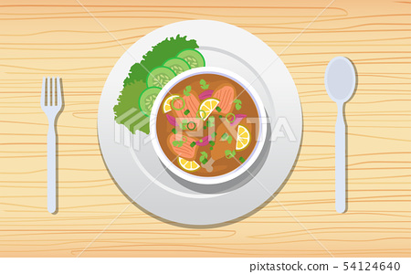 chicken soup on the wooden table 54124640