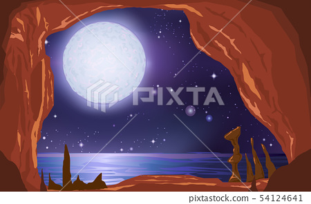 landscape of cave inthe ocean in the night 54124641