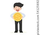 businessman holding  a big coin concept 54125692