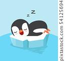 Cute penguin sleep on ice floe 54125694