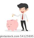 businessman putting coin a Piggy bank money 54125695