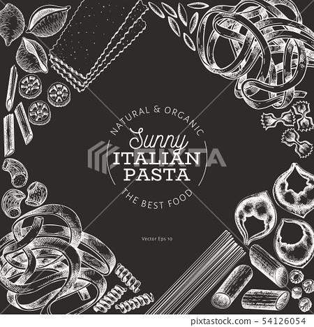 Italian pasta design template. Hand drawn vector 54126054
