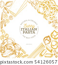 Italian pasta design template. Hand drawn vector 54126057