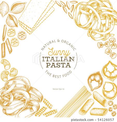 Italian pasta design template. Hand drawn vector 54126057