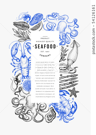 Seafood and fish design template. Hand drawn 54126161