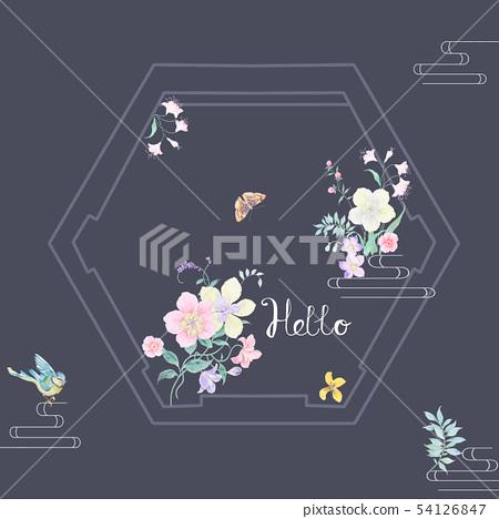顏色豐富豐富的水彩花蕾,植物,苔蘚 54126847