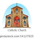 Exterior view on christian church in thin line 54127025