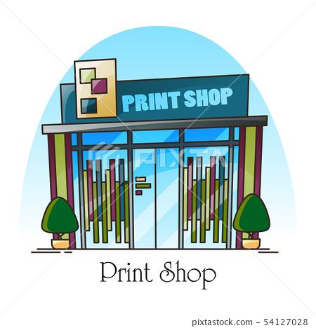 Print shop building facade in thin line. Exterior 54127028