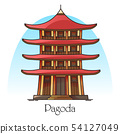 Japanese or chinese pagoda.China or Japan building 54127049