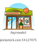 Exterior view on supermarket building. Shop, store 54127075