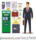 Bank icons, banker and ATM, dollar banknotes 54127079