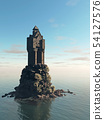 Medieval Tower House Castle on a Rocky Island 54127576